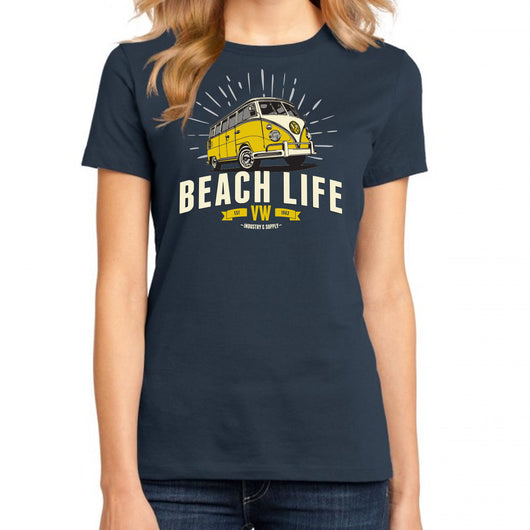 Volkswagen Beach Life Ladies Fitted Navy T-Shirt