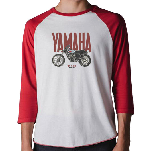 Yamaha Dirt Bike 1974 YZ 250A Baseball Shirt 3/4 Red & White