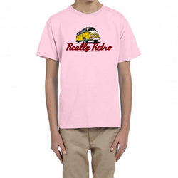 Really Retro Volkswagen Bus Pale Pink Kid's T-Shirt
