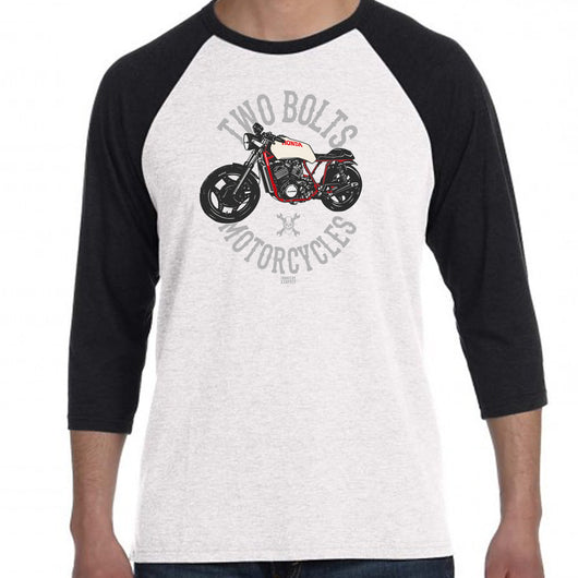 Two Bolts Motorcycles Baseball Shirt Black & White