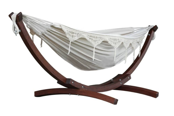 Vivere's Double Cotton Hammock with Solid Pine Arc Stand (8ft) - Hammock | Hamikk.com