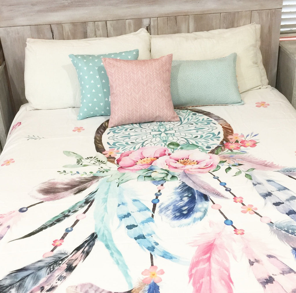 Pink And Aqua Dreamcatcher King Quilt Cover Bubbles Lane