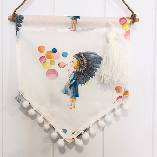 Bubble girl fabric flag