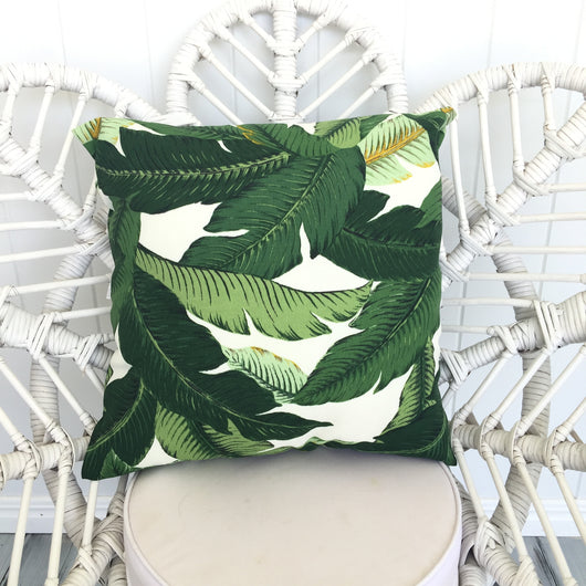 Dark green banana leaf cushion cover