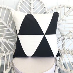 Large black and white triangle cushion cover