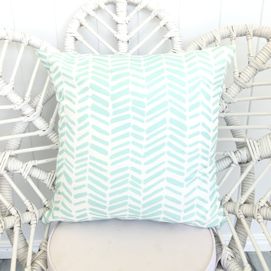 Mint herringbone cushion cover