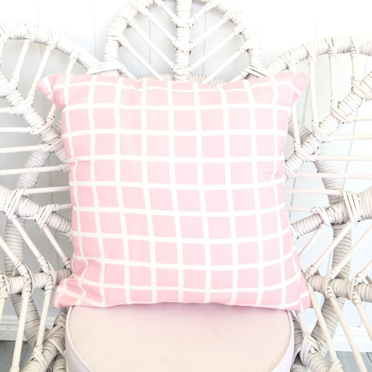 Pink grid cushion cover