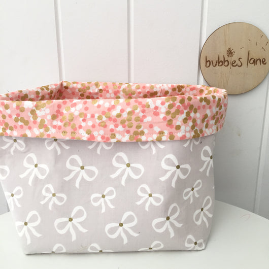 Grey/gold bows with pink and gold confetti fabric basket