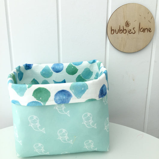 Mint mermaid with mint/blue mermaid scales mini fabric basket