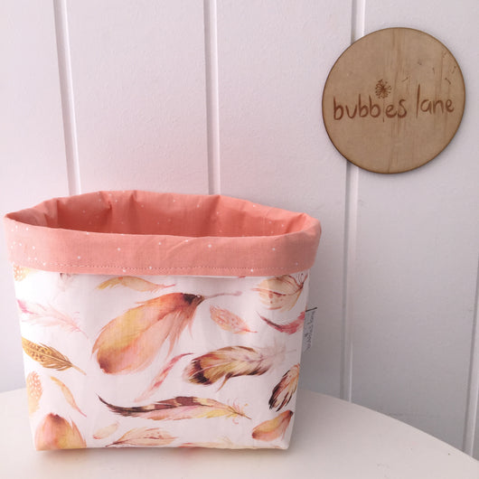 Peach feathers with peach sprinkle dot mini fabric basket