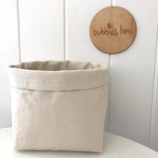 Bone 100% linen mini fabric basket