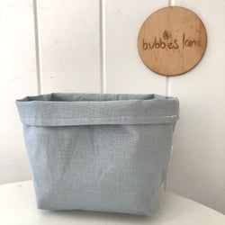 Duck egg blue 100% mini fabric basket