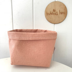 Vintage blush 100% linen  mini fabric basket