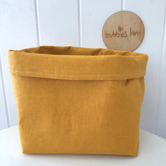 Mustard 100% linen fabric basket