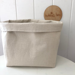 Bone 100% linen fabric basket