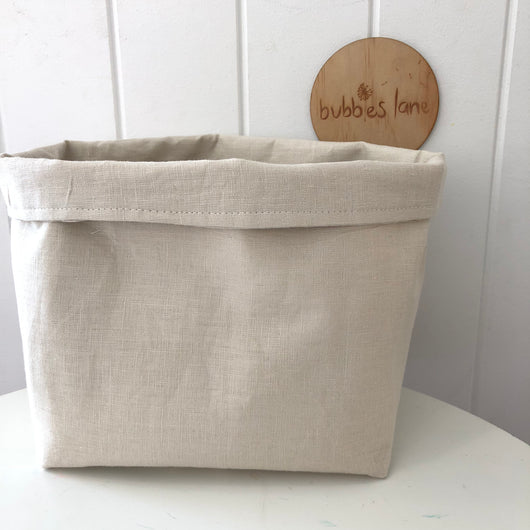 Stonewashed oatmeal 100% linen fabric basket