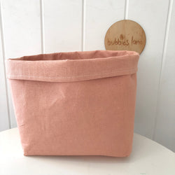 Vintage blush 100% linen fabric basket