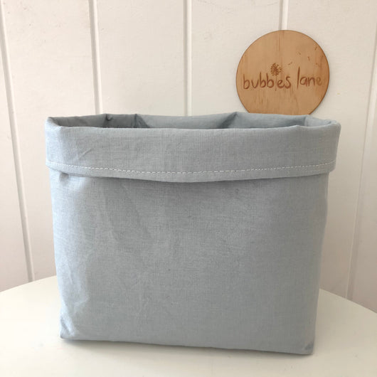 Duck egg blue 100% linen fabric basket