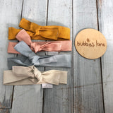 Vintage blush linen topknot headbands