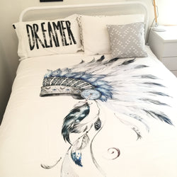Blue and grey indian headdress king quilt cover