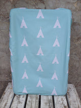Mint teepee change mat/ bassinet sheet, mint cross change mat sheet/ bassinet sheet