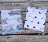Mint chevron stripe change sheet, grey/black triangle change sheet