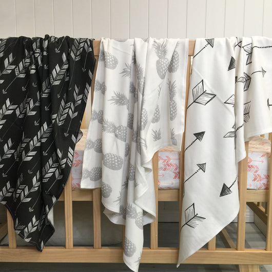 Charcoal herringbone arrow, grey pineapple, white with black arrow organic cotton knit wrap