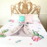 Pink floral teepee double quilt cover