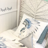 Blue and grey Indian headdress european cushion cover