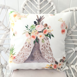 Peach boho teepee cushion cover