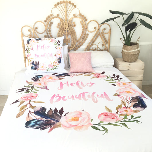 Hello beautiful queen quilt cover