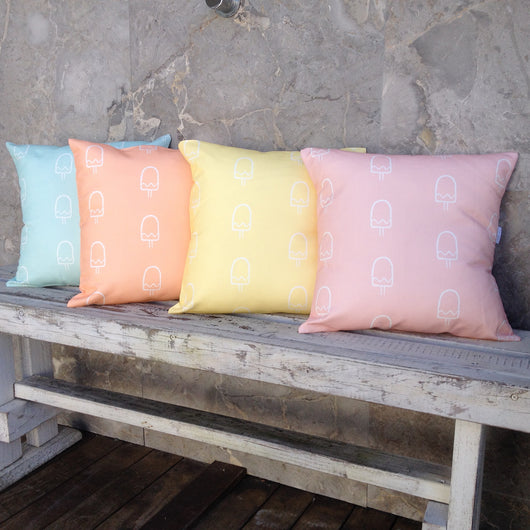 Mint popsicle, peach popsicle, lemon popsicle, pink popsicle cushion covers