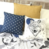 White wolf queen quilt cover