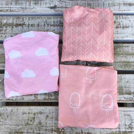 Pink cloud, Pink featherland, pink popsicle bassinet/change mat sheet