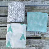 Charcoal featherland, white with mint teepee, mint cactus change mat sheet/bassinet sheet