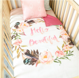 Hello beautiful cot quilt with pink dots