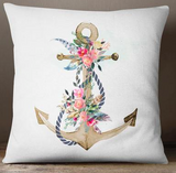 Boho floral anchor european cushion cover