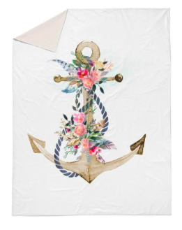 Boho floral anchor double quilt cover