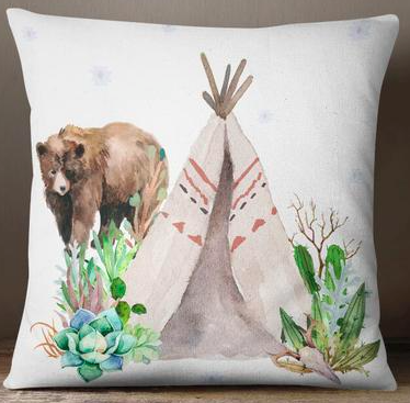 Bear and teepee european cushion cover