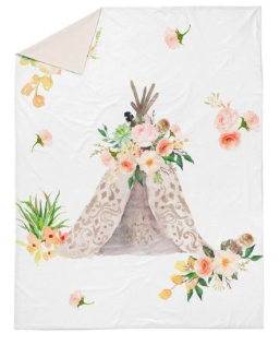 Peach floral teepee double quilt cover