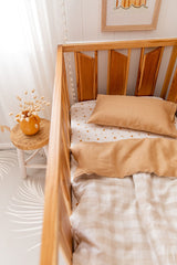 Bone large gingham linen with biscuit linen cot quilt