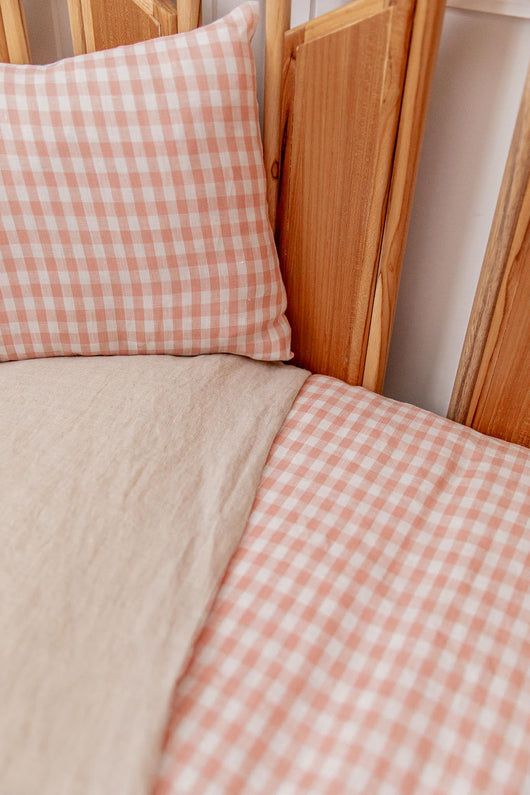 Pink gingham linen with oatmeal stonewash linen cot quilt