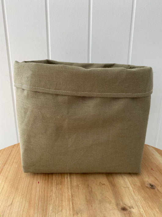 Sage green 100% linen fabric basket