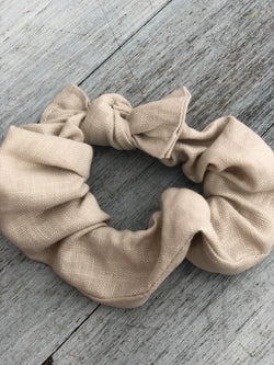 Bone linen scrunchie