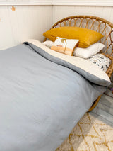 Duck egg blue with bone 100% linen single quilt cover