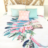 Pink and aqua indian headdress queen quilt cover