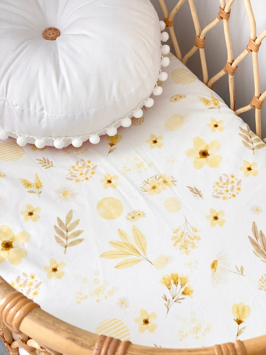 Lemon floral bassinet sheet/ change table cover