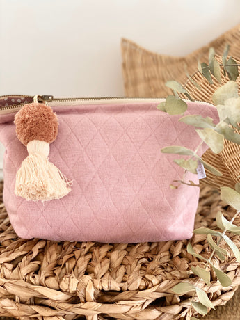Pink quilted knit nappy clutch