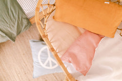 Blush and white linen bassinet/pram blanket