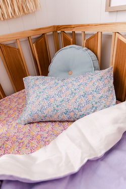 Blue/pink floral toddler pillowcase